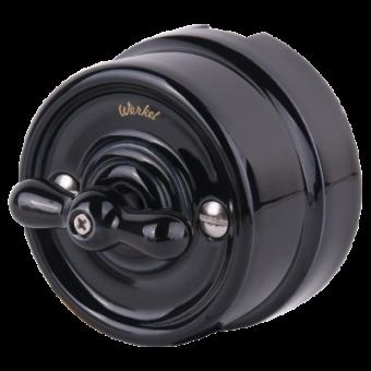 WL18-01-05 Выключатель на 4 положения двухклавишный (черный) Ретро Favorit Runda Werkel a036810