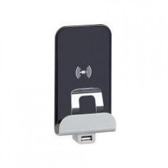 672437 Etika.Беспроводное зарядное устройство Qi 1А с дополнительным разьемом USB A 5В 2,4А. Цвет Алюминий Legrand