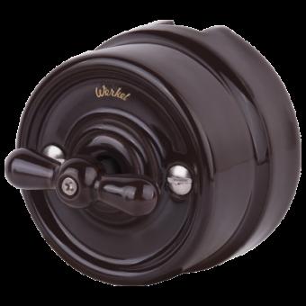 WL18-01-05 Выключатель на 4 положения двухклавишный (коричневый) Ретро Favorit Runda Werkel a036802