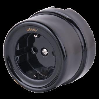 WL18-03-02 Розетка с заземлением и шторками (черный) Ретро Favorit Runda Werkel a036816
