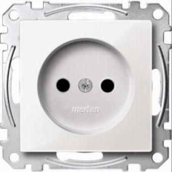 MTN2000-0319 Механизм розетки без заземл.контакта со шторками , полярн-белый. Merten